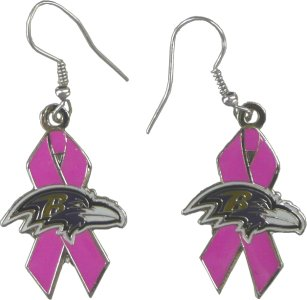 Baltimore Ravens Pink Ribbon Earrings